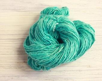 Worm Goo Silk Thread Mini Skein Hand Dyed Aqua