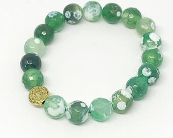 Agate green beaded bracelet   Jewels by Crys