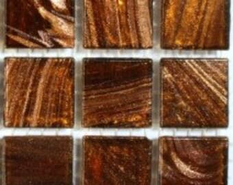 "G3600803/4""  Dark Brown Goldvein Glass Mosaic Tiles -25pk//Discount Mosaic Supplies//Mosaic"