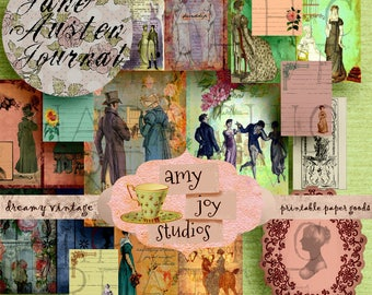 Jane Austen Journal  Set 4  Regency Era  Scrapbook Papers  Smashbook   Junk Journal Vintage  Printable Journal Paper  Mr. Darcy