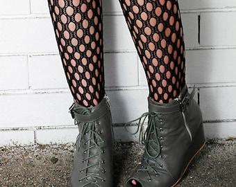 Black Hand Dyed Crochet Nylon Stockings Tights Pantyhose Size 10-12