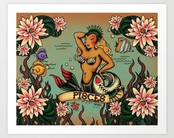 Zodiac Horoscope Tattoo Pisces Print