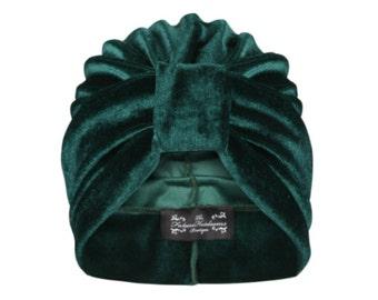 Ava Velvet Turban in Green