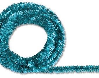 Turquoise Metallic Tinsel Roping XG447830, Mesh Supplies, Poly Mesh Supplies, Mesh Ribbon (25 FEET)