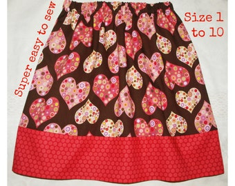 Baby skirt pattern, Girl sewing pattern, Circle skirt, Easy skirt pattern,  Toddler pattern, PDF pattern - All Hearts Skirt pattern (S102)