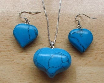 Turquoise gemstone Jewelry Heart set - Puff Turquoise heart pendant-18 inch silver necklace-drop dangle Turquoise matching  earrings JS4