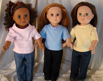 "Birthday Party Favors Package of 14 Jeans & 14 T-Shirt; for American Girl Style 18"" Dolls! for Parties, School or Playground Doll Clothes"