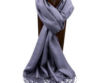 Pashmina, Scarf, Shawl Dark Gray Solid Color