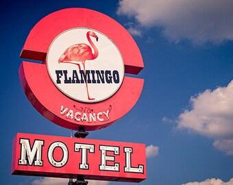 Flamingo Motel Neon Sign | Mid Century Wall Art | Neon Sign Art | Pink Flamingo Art | Retro Wall Art | Flamingo Print | Kitsch