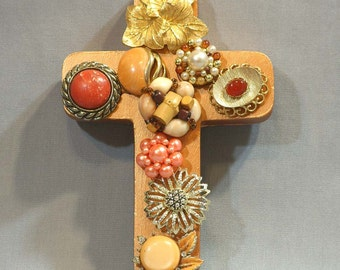 wall cross, Autumn Shades Cross with Vintage Jewelry, recycled art