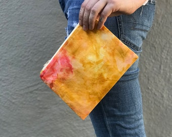 Hand Dyed Cotton Bag  Handmade Quilted Zipper Pouch