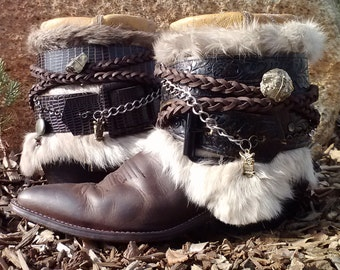 Upcycled Cowboy Boho Boots - Custom Vintage Repurposed- Mountain Magic