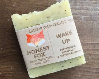WAKE UP, rosemary and peppermint soap, natural soap, organic soap, rosemary soap, peppermint soap, cold pressed soap