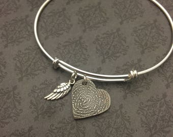 Fingerprint Bracelet - Thumbprint Bracelet -Bangle Bracelet - Bangle Fingerprint Bracelet - Memorial Jewelry - Actual Fingerprint Bracelet