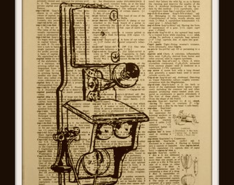 Old Antique Telephone~Authentic Vintage Dictionary/Encyclopedia Page Print~Phone~ communication~paper~ Gift~  operator~ old fashioned~ 1800s