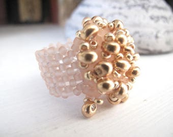 Seed beads and Golden glass Teardrop ring