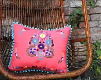 Pom Poms Coral peach and Multi colored Puebla Collection  Sham One of a kind no two repeat