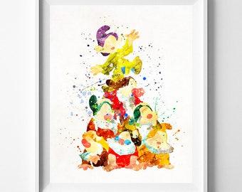 Seven Dwarfs, Seven Dwarfs Print, Snow White Art, Snow White Print, Disney Print, Disney Princess, Watercolor Painting, Mothers Day Gift