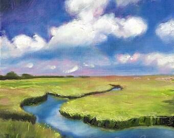 Blue sky art, marsh painting, coastal art print, cloud painting, modern landscape by Paula Prass, archival fine art print in 5x5, 6x6 or 8x8