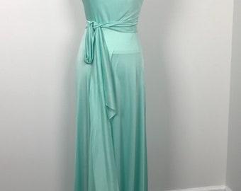 70s Maxi Dress Mint Green Grecian Dress 70s Disco Dress M/L