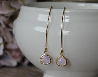 Pink opal glass drop and gold plated marquise hook dangle earrings