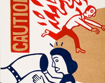 caution /  / hand printed woodcut and collage / limited edition