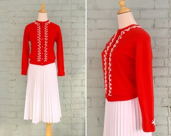 1950s cashmere cardigan / 50s beaded cardigan / 1950s red cardigan / 1950s cardigan sweater