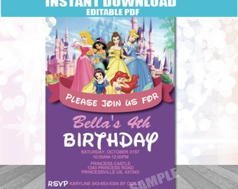 Princess Party Invitation INSTANT DOWNLOAD editable PDF Princess Invitation