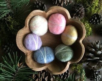 Wool felt pebbles, Easter Colors, set of 6, waldorf school toy, waldorf rainbow childen gift, alternative Easter gift, Easter pastel