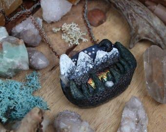 Mountain Lake Landscape Wearable Art, Clay Landscape Pendant, Rockies, Rocky Mountains, OOAK Labradorite Pendant Necklace, Handsculpted Clay