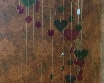 Stained Glass Heart and Sphere Mobile.