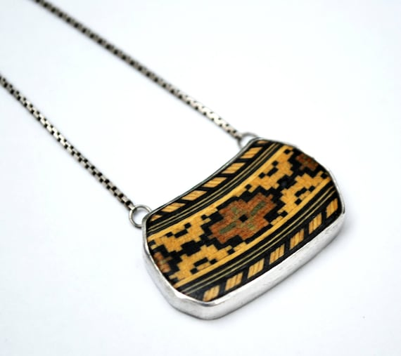 Mosaic inlay Pendant -  sterling necklace  - wood - brown black - tribal - south western - Italy box chain