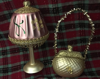 Pair of vintage blown glass ornaments