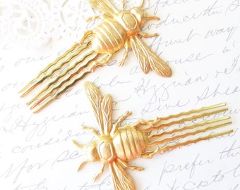 Golden Bumble Bee Hair Comb Set - Bumblebee - Woodland - Nature Wedding Hair - Insect - Fly - Moth - Bee