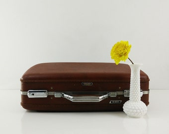 Vintage Brown American Tourister Suitcase