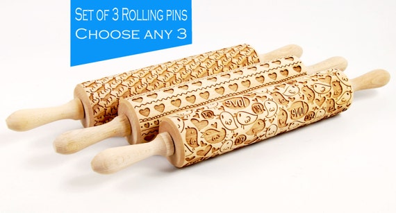 CHOOSE ANY 3 of all our patterns - Embossing rolling pin, laser engraved rolling pin, Set of three Embossed rolling pin