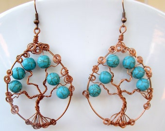 Tree of Life Earrings: copper and howlite