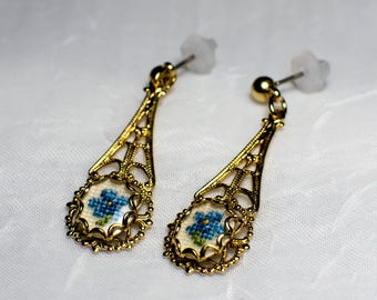Petit Point Vintage Gold Earrings with Blue Flower