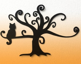Cat in swirl tree die cut silhouette great for card making set of 2