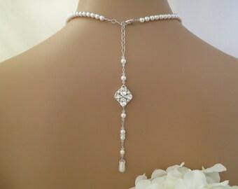 Backdrop bridal necklace Vintage style pearl wedding necklace Swarovski crystal and pearl backdrop necklace Rhinestone and pearl necklace