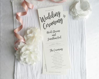 Wedding Programs    Ceremony program    Double Sided Programs - Style P107- SIMPLE COLLECTION