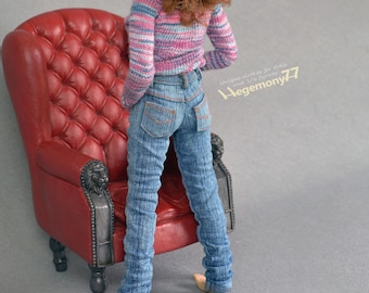 1/6th scale hand washed blue denim jeans pants / trousers for: female collectible poseable action figure dolls eg Phicen TBLeague