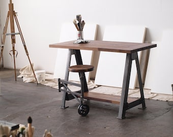Walnut Stand Up Sit Down Work Station Desk and stool