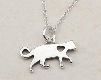 Heart Cat Necklace Sterling Silver I Love Cats Charm Pendant Cable Chain Feline Pet Kitty Animal