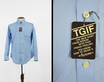 Vintage NOS Arrow Blue Shirt 1970s TGIF Button Down Deadstock - Size Medium