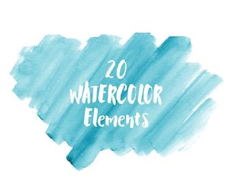 20 Blue Watercolor Splotches, Splatters and Brush Strokes; Blue Watercolor Clip Art, Transparent Background PNG; Watercolor Design Elements