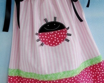 SALE - PDF e-Pattern - Pillowcase Dress with Ladybug and Monkey Appliques - 6 months to 4 years