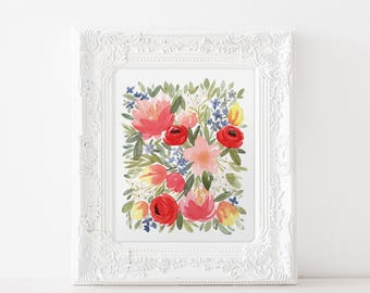 Summer Fling Floral Watercolor Art Print