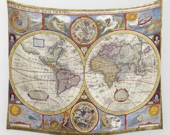 Antique world map wall tapestry vintage map large size wall old world map wall tapestry vintage map large size wall art modern dorm gumiabroncs Images