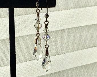 Shining Crystal Dangle Earrings, Swarovski Crystal Elements, Clear Sparkling Dangles Earrings, Wedding Jewelry, Shimmering Bride Earrings